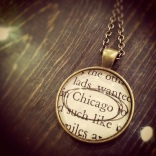 Vintage Book Page Necklace by Lisa Muscato